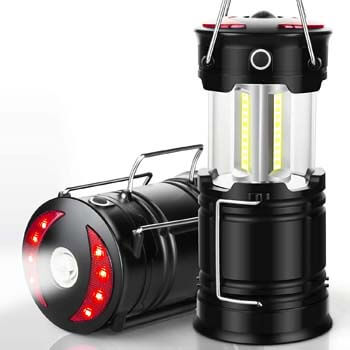 9. EZORKAS 2 Pack Camping Lanterns, Rechargeable Led Lanterns, Hurricane Lights with Flashlight and Magnet Base for Camping