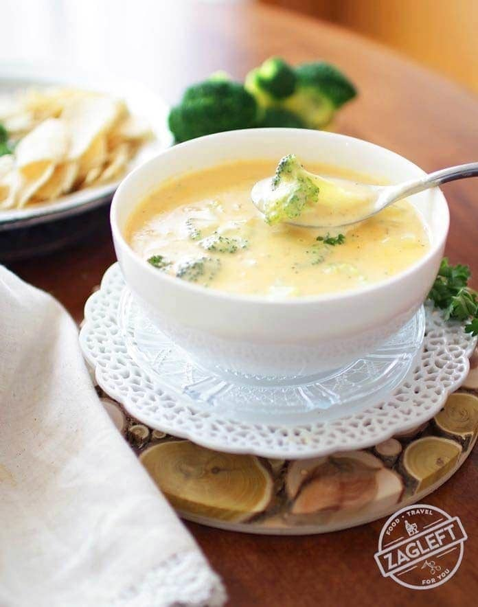 Broccoli Cheddar Soup in a bowl | One Dish Kitchen