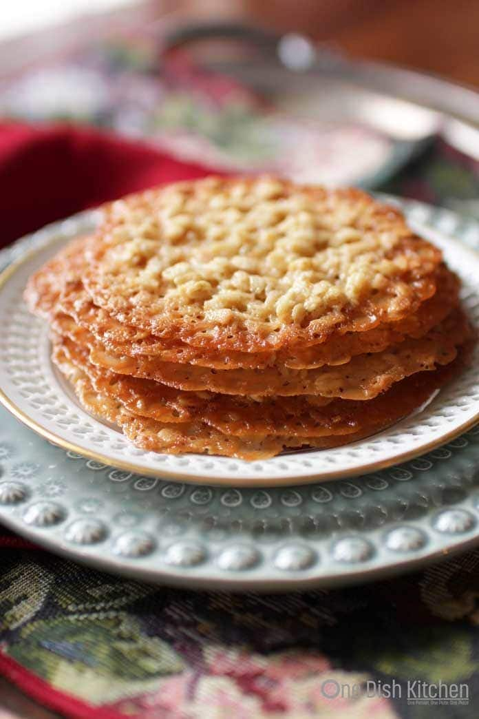 oatmeal lace cookies on a plate | one dish kitchen