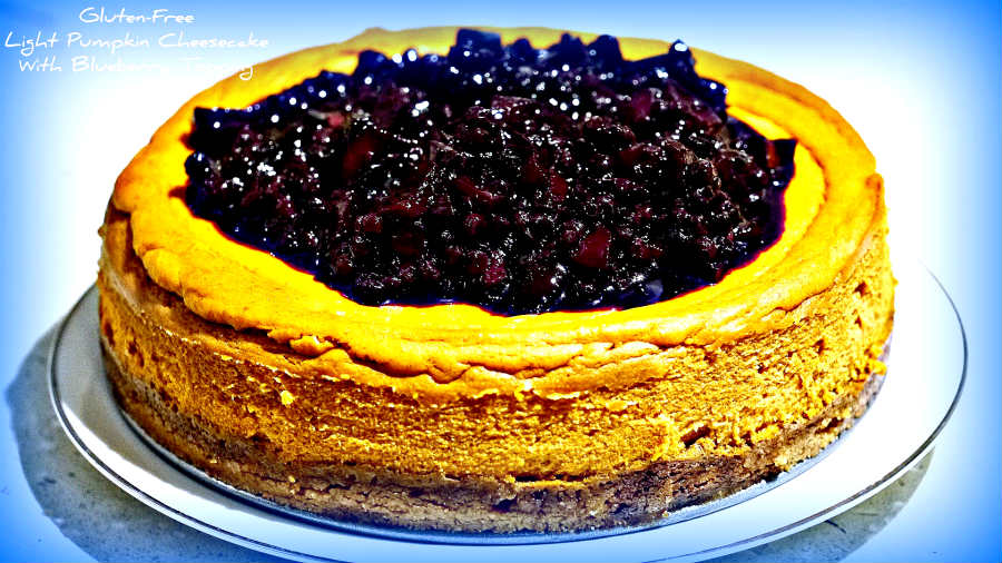 Light Pumpkin Cheesecake With Blueberry Topping