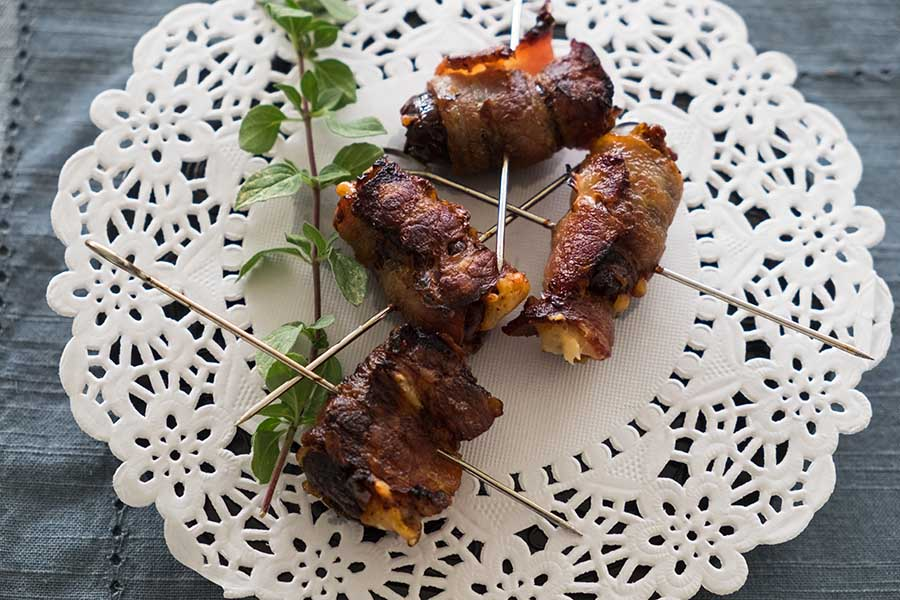 Dates Stuffed With Asiago And Wrapped With Bacon