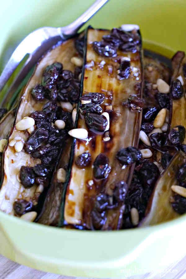 Marinated Japanese Eggplant With Raisins And Pine Nuts