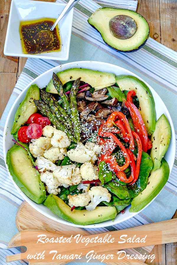 Roasted Vegetable Salad with Tamari Ginger Dressing