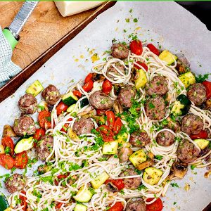 Gluten Free Sheet Pan Spaghetti and Meatballs