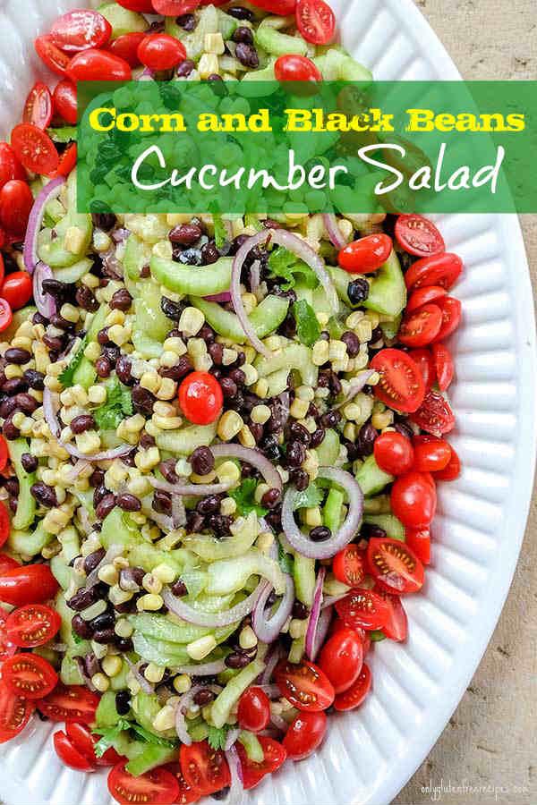 Corn and Black Beans Cucumber Salad