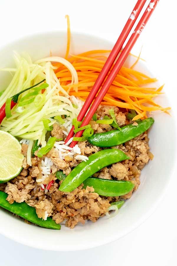 Vietnamese Pork and Snow Peas Rice Bowl