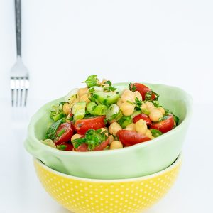 Chickpea Salad with Tomatoes and Cucumber