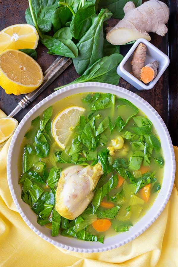 Instant Pot Immune Boosting Chicken & Spinach Soup