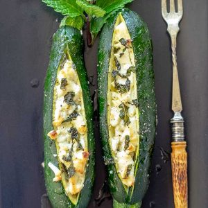 Baked Zucchini With Goat Cheese {Keto, Vegetarian, Gluten-Free}