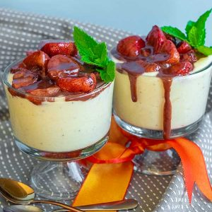 Banana Mousse With Strawberry Chocolate Sauce