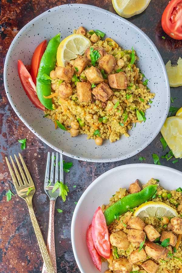 Tandoori Faux Chicken Quinoa Bowl (Vegan, Gluten-Free)