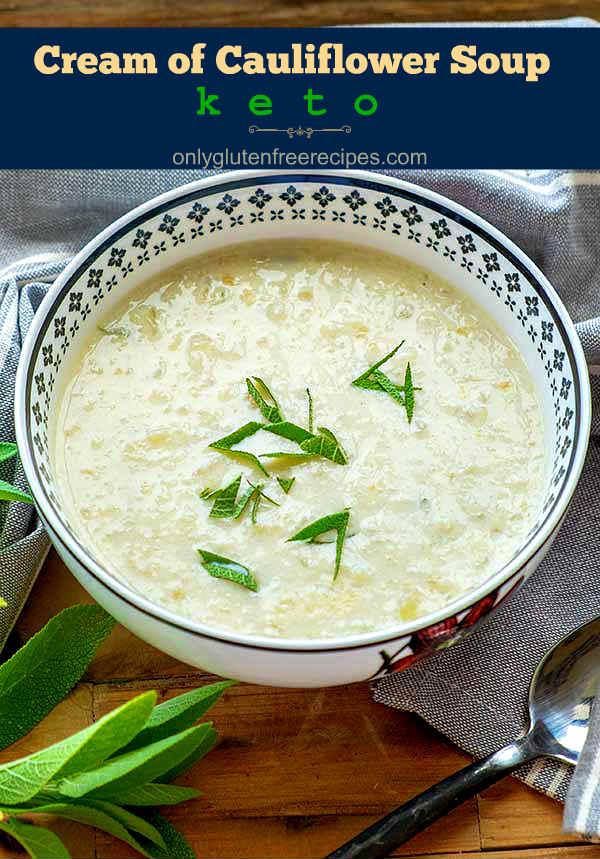 Keto Cream Of Cauliflower Soup with Sage