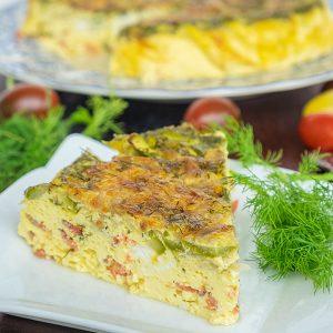 Smoked Salmon, Asparagus & Goat Cheese Quiche (Keto & Gluten-Free)
