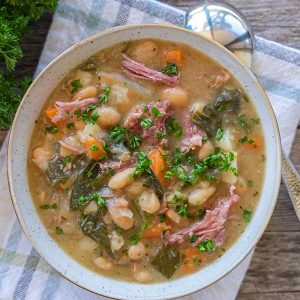 Instant Pot White Bean Soup Ham and Collards