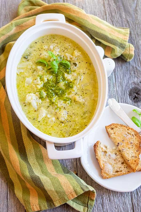 Creamy Cauliflower Pesto Soup