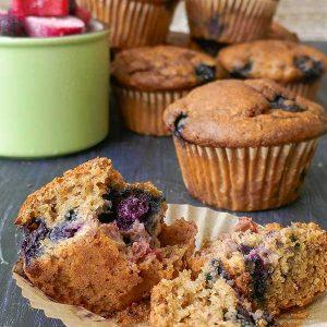 Gluten-Free Blueberry Rhubarb Muffins