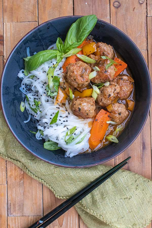 Sweet and Sour Meatballs with Sesame Noodles