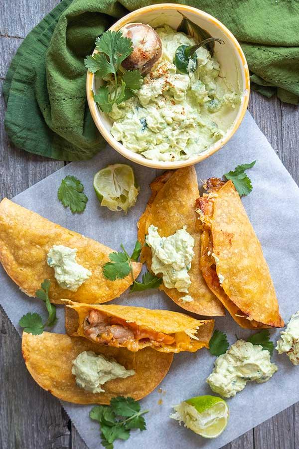 30 Minute Gluten-Free Crispy Carnitas Tacos with Avocado Yogurt Cream