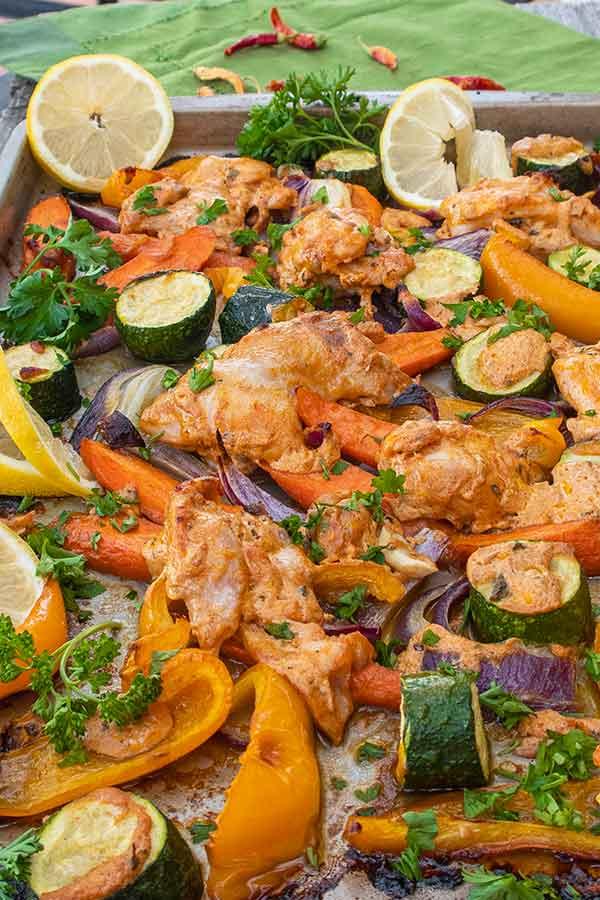 sheet pan cajun chicken with roasted veggies