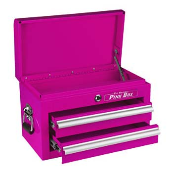 3. The Original Pink Box PB218MC 18-Inch 2-Drawer 18G Steel Mini Storage Chest w/Lid Compartment, Pink