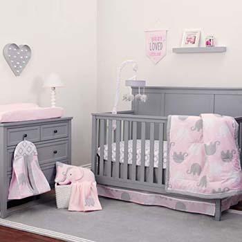 1. Nojo Dreamer – Pink/Grey Elephant 8 Piece Comforter Set