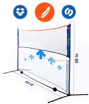 10. Portable net for Beach Volleyball, Badminton, Soccer Tennis and Tennis by Street Tennis Club