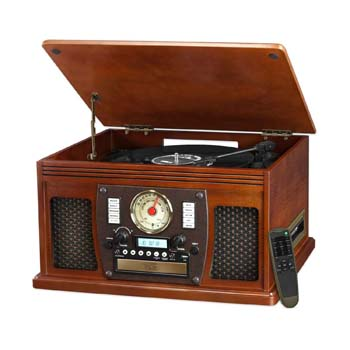 02. Victrola Mahogany 8-in-1 Turntable Entertainment Center