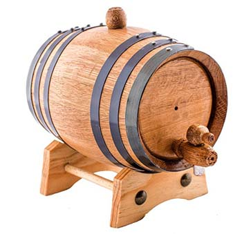 6. 2.6 gallon American Oak Aging Whiskey Barrel.