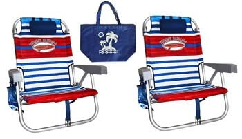 7. Tommy Bahama Blue White Red Stripes Beach Chair