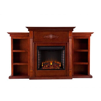 9. Southern Enterprises Tennyson Electric Fireplace with Bookcase