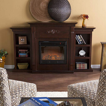 4. Southern Enterprises Tennyson Electric Fireplace with Bookcase