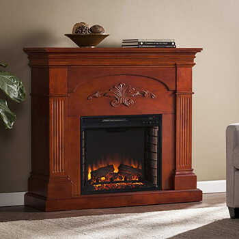 8. SEI Sicilian Harvest Electric Fireplace, Mahogany