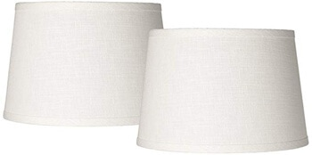 3. Brentwood White Linen Drum Lamp Shade, Set of 2