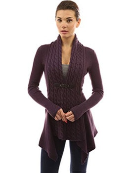 4. PattyBoutik Women's Buckle Braid Front Cardigan