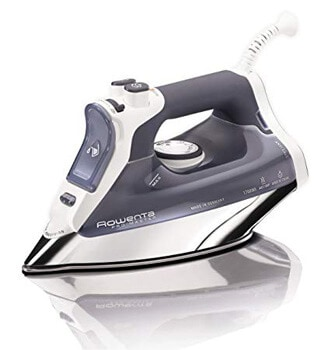 9. Rowenta DW8080 Professional Micro Steam Iron Stainless Steel Soleplate with Auto-Off, 1700-Watt, 400-Hole, Blue