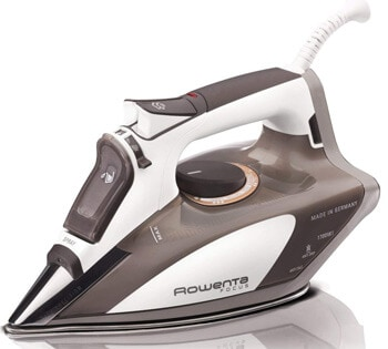 1.Rowenta 1700-Watt Micro Steam Iron Stainless Steel Soleplate with Auto-Off, 400-Hole, Brown, DW5080