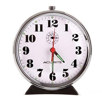 2. AcuRite 15607 Vintage Alarm Clock, Black Nickel