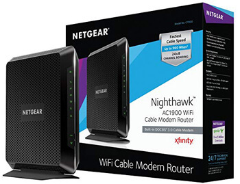 7. NETGEAR Nighthawk AC1900 (24x8) DOCSIS 3.0 WiFi Cable Modem Router