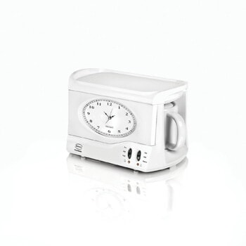 4. SWAN Vintage Teasmade and Alarm Clock, 20oz White