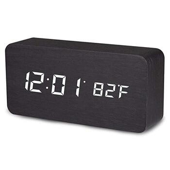 2. MiToo Digital Alarm Clock, Temperature Date LED Display Wood Grain Clock 3 Levels Brightness Voice Control