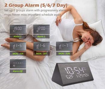 10. Warmhoming Wooden Digital Alarm Clock with 7 Levels Adjustable Brightness