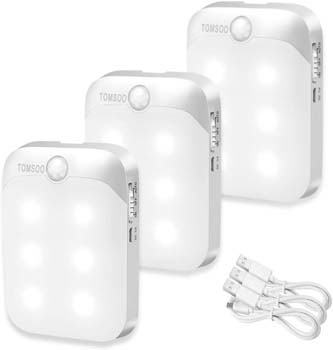 5. TOMSOO Rechargeable Motion Sensor Light