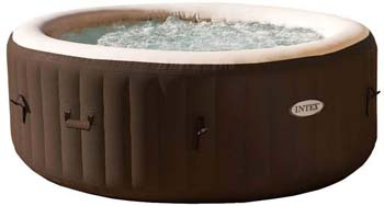 9: Intex PureSpa 4Person Inflatable Bubble Jet Spa Portable Heated Hot Tub, Brown