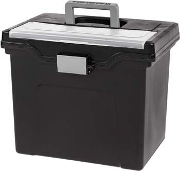 1. IRIS USA, Inc. HFB-24E-TOP Portable Letter Size File Box with Organizer Lid