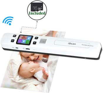 7. Wi-Fi Portable Scanners for Photo, Receipts, 1050 DPI, (16G Memory Card Included)