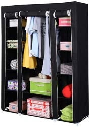 "9. BTAC 53"" Portable Closet Wardrobe Clothes Rack Storage Organizer with Shelf Black New"