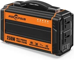 2. Rockpals 250-Watt Portable Generator Rechargeable Lithium Battery Pack Solar Generator