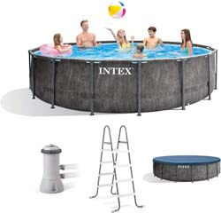 10. Intex 26741EH 15ft x 48in Greywood Premium Prism Steel Frame Outdoor Above Ground Swimming Pool Set