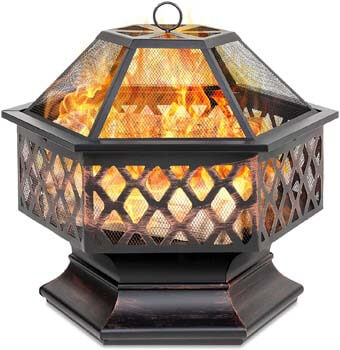 8. Best Choice Products Hex-Shaped 24in Steel Fire Pit