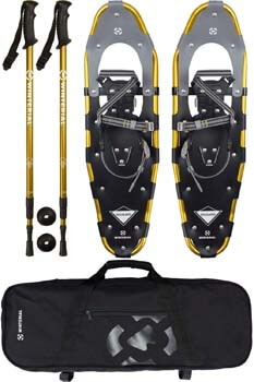 5. Winterial Highland Snowshoes 30 Inch Lightweight Aluminum Rolling Terrain Gold Snow Shoes